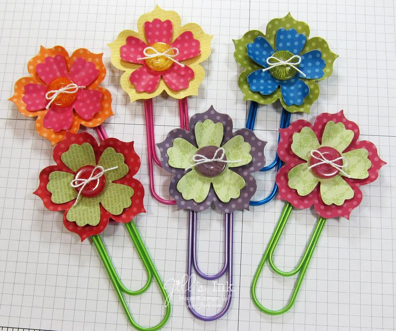 Fun Flowers Paper Clip Bookmarks 003