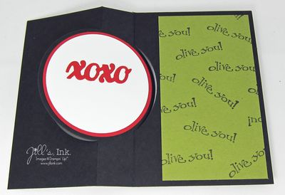 January Make n Take Card - Olive You open